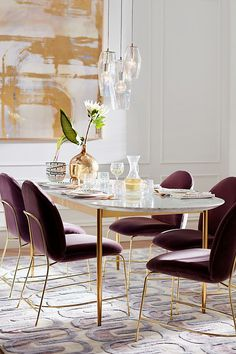 31 Of The Most Brilliant Modern Dining Table Design Ideas - Best Home Ideas and Inspiration Dining Table Design, Modern Dining Table, Outdoor Dining, Small Dining, Outdoor Lounge, Dining Room Furniture, Dining Room Table, Room Chairs, Purple Dining Chairs