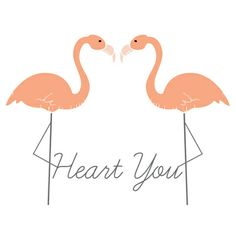 Flamingo Hearts Art Print
