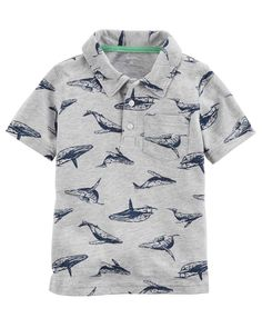 a83fc79f7 Toddler Boy Whale Print Slub Jersey Polo | Carters.com Baby Boy Tops,  Carters