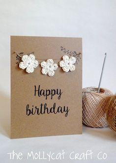 New crochet gifts birthday etsy ideas Happy Birthday Cards Handmade, Simple Birthday Cards, Card Birthday, Birthday Greetings, Birthday Gifts, Birthday Wishes Flowers, Flower Birthday, Fabric Cards, Crochet Gifts