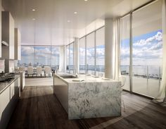 decor style a glass walled penthouse by bjarke ingels is for sale in miami photos architectural digest Apartamento Penthouse, Penthouse Apartment, Dream Apartment, Apartment Interior, Apartment Design, Bathroom Interior, Architectural Digest, Luxury Penthouse, Luxury Condo