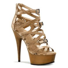 Pleaser, Large Size, Heel, 1 Platform Strappy Criss Cross Bootie Sandal, Back Zipper in Blush/Light Brown Pin Up Shoes, Me Too Shoes, Sexy High Heels, Hot Heels, Brand Name Shoes, Bootie Sandals, Women Oxford Shoes, Stiletto Heels, Stilettos