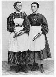 Working women of the Civil War era, unusually short skirts - They are textile workers.