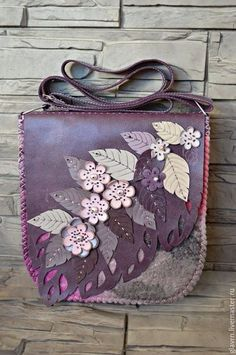 """Leather bag / Женские сумки ручной работы. Ярмарка Мастеров - ручная работа. Купить Сумка """"Сливовый цвет.... Handmade. Разноцветный, веточка с цветами"""