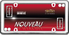 Nouveau, Chrome with fastener caps License Plate Frame