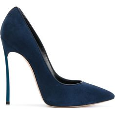 Casadei Blade pumps ($690) ❤ liked on Polyvore featuring shoes, pumps, blue, leather shoes, high heel stilettos, blue high heel shoes, blue leather pumps and blue pointed toe pumps