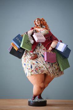 "Katya is making DOLLS for ""BIG KIDS"". Paper Mache Clay, Paper Mache Sculpture, Sculpture Art, Paper Clay, Clay Dolls, Art Dolls, Plus Size Art, Fat Art, Motif Floral"