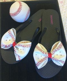 Flip flops with bows made from actual baseballs!