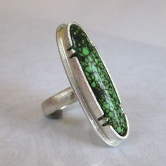 Slender Green Turquoise Ring Size 6 by tkmetalarts on Etsy, $195.00