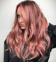 Wavy rose gold hair by @guy_tang on Instagram. Be featured in Model Citizen App, Magazine and Blog. www.modelcitizenapp.com