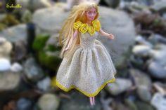 Für Kinder - Blumenkleid *** für Barbie *** natur-gold-gelb - ein Designerstück von Sabisilke bei DaWanda