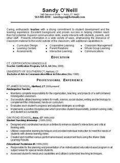 sample resume of teacher applicant