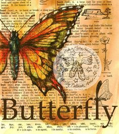 PRINT:  Butterfly Drawing on Distressed Dictionary Page. $10.00, via Etsy.