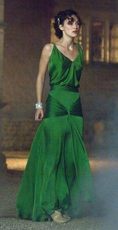 Kiera Knightley in  emerald dress from the film Atonement