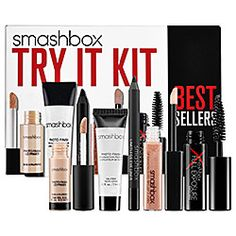SMASHBOX Try It Kit  This set contains: Photo Finish Foundation Primer  Photo Finish Lid Primer  Limitless Eye Liner in Onyx Full Exposure Mascara in Jet Black  Lip Enhancing Gloss in Illume