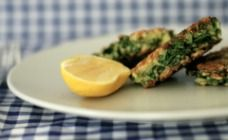 Haloumi and silverbeet fritters
