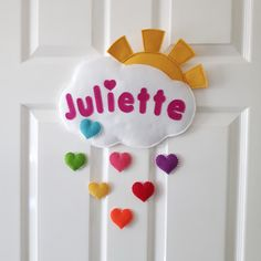 Cloud name plaque with rainbow hearts