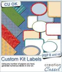 Custom Kit Labels - #PSP #Script =>If you want to create a variety of different labels to match a kit or a project, this script will save you a lot of time.  #scrapbooking