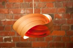 A pendant light shade hand made in Christchurch. Crafted from sustainable, New Zealand Macrocarpa, turned copper pins and bamboo fastening clips. Copper Lighting, Dining Room Lighting, Light Fittings, Light Art, Wood Veneer, Light Shades, Wood Grain, Natural Wood, Glow