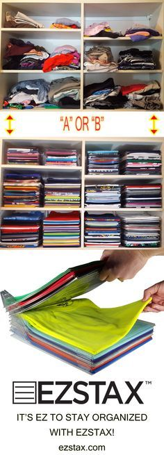 You TOO can have a closet full of t-shirts set up like a boutique store! Preserve your favorite tees? SAVE on EZSTAX Closet Organization System now through Cyber Monday! Use BFCM at checkout. Organizar Closet, Ideas Para Organizar, Master Closet, Tiny Closet, Deep Closet, Room Closet, Staying Organized, Closet Organization, Organization Ideas