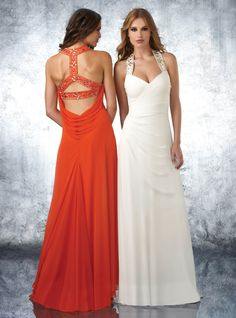 Style #59634 Beaded halter straps, sweetheart criss-cross shirred bust & waist, open beaded back with side drape, low back cowel