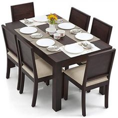 Buy Arabia - Oribi 6 Seater Dining Table Set at Urban Ladder. Wooden Dining Table Designs, Dining Room Furniture Design, Dinning Table Design, Simple Dining Table, Wooden Dining Set, 6 Seater Dining Table, Dinning Room Tables, Wood Furniture, Furniture Stores