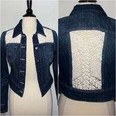 Upcycled Denim Jacket with Crochet Lace Inserts Cut-out Panels Front and Back Distressed Denim Umgestaltete Shirts, Diy Vetement, Denim Ideas, Denim Crafts, Altered Couture, Recycled Fashion, Denim And Lace, Distressed Denim, Refashion