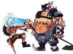 Junkrat Fanart, Roadhog Overwatch, Junkrat And Roadhog, Cartoon Man, Baby Jail, Fantasy Inspiration, Character Development, Geek Culture, Bowser