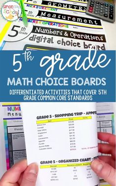 When teaching 5th grade math, it is important to cover important math skills and math concepts in your classroom. These choice boards are a great math resource for addressing fifth grade math common core standards, while giving students a choice on which fun math activities they want to complete for the math project. #5thgrademath #commoncoremath #mathresources #5thgradecommoncore #5thgrademathproject