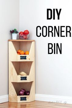 DIY Corner Vegetable Storage Bin Plans - DIY Crafts and Projects - This is perfect for my small kitchen! How to build a DIY corner vegetable storage bin. It is so eas - Diy Simple, Easy Diy, Beginner Woodworking Projects, Woodworking Plans, Woodworking Basics, Woodworking Supplies, Vegetable Storage Bin, Vegetable Bin, Wood Projects