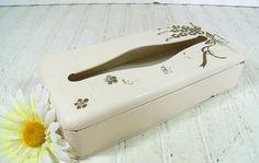 Vintage Ivory & Gold Enamel Over Metal Tissue Box  Shabby