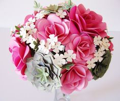 Ready to Ship Paper Succulent and Flower Bouquet  by JumpingJones, $95.00