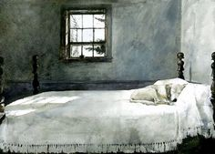 Andrew Wyeth (American, Realism, 1917–2009): Master Bedroom, 1965. Watercolor on paper, 21-1/8 x 29-1/2 inches. Collection of Victoria Browning Wyeth, Brandywine River Museum, Chadds Ford, Pennsylvania