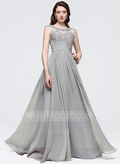 [US$ 149.99] A-Line/Princess Scoop Neck Floor-Length Chiffon Prom Dress With Ruffle Beading Sequins