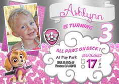Skye Paw Patrol Birthday Party Invitation Invite Sky