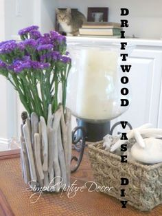 DRIFTWOOD VASE DIY. For more driftwood ideas (including vases), browse Completely Coastal here: http://www.completely-coastal.com/search/label/Driftwood%20Crafts