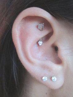 Rook Piercing Barbell - Daith Bar - Swarovski Crystal Heart Arrow Earring - Multiple Ear Piercing Ideas at MyBodiArt.com