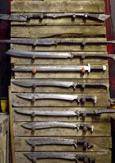 A collection of blades from Zombie Tools. A few of the blades are over exaggerated, but most are excellently design, and forged with full-length tangs.