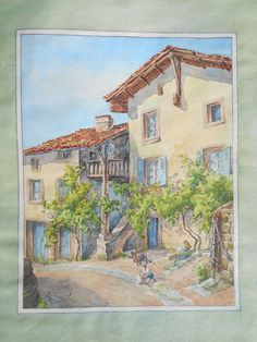 Original watercolor French village, from 1945 signed Vérité, vintage watercolor painting, South of France landscape.