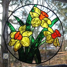 Yellow and orange daffodils stained glass suncatcher by livingglassart home of oddballs and oddities, via Flickr