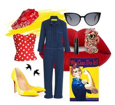 """""""Rosie the Riveter"""" by red-insanity-love ❤ liked on Polyvore featuring Lime Crime, M.i.h Jeans, Bobbi Brown Cosmetics, Cara, Christian Louboutin, Fendi, TrickyTrend and overalls"""