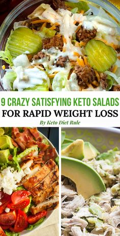9 crazy filling and protein-packed healthy keto salad recipes for rapid weight loss. No more boring and tasteless salad for lunch. If you need something healthy and delicious try making one of these keto salads for next meal. Ketogenic Recipes, Diet Recipes, Healthy Recipes, Low Carb Recipes, Ketogenic Diet, Recipes For One, Healthy Snacks, Ketogenic Cookbook, Vegan Keto Recipes