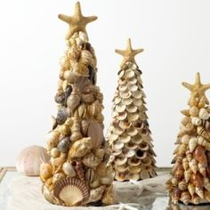shell Christmas trees by Ladybumblebee
