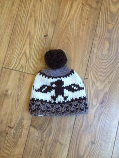 SalmonCoastKnits eagle toque in browns cowichan style knitting wool