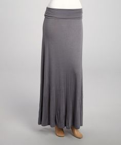 Look at this #zulilyfind! Charcoal Fold-Over Maxi Skirt #zulilyfinds