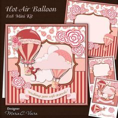 Hot Air Balloon 8X8 Mini Kit on Craftsuprint designed by Maria Christina Vieira  - Hot Air Balloon 8X8 Mini Kit,2 Sheet card front mini kit includes,matching insert, two text banners, one blank banner,and embellishments for decorate.approx: 8x8Banners:Happy Birthday, Wishing you safe travels! - Now available for download!