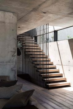 """The Australian based architectural and design studio Marcus Browne Architect has designed """"Vodka Palace"""" a concrete house that located in Cottesloe, Western Australia, Australia. Stairs Architecture, Architecture Awards, Amazing Architecture, Interior Architecture, Australian Architecture, Home Stairs Design, Railing Design, House Design, Modern Stairs Design"""