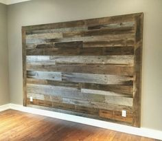 Home Interior Warm First of three headboard accent walls completed today. These accent walls are so awesome and look so good! We have been getting some really awesome barn wood here lately. Contact us today for a free,. Shiplap Headboard, Diy Headboards, Barn Wood Headboard, Plywood Headboard, Headboard Ideas, Rustic Headboard Diy, Shiplap Diy, Homemade Headboards, Full Headboard