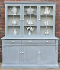 FRENCH PROVINCIAL COUNTRY HAMPTONS BUFFET AND HUTCH SIDEBOARD BOOKCASE GREY