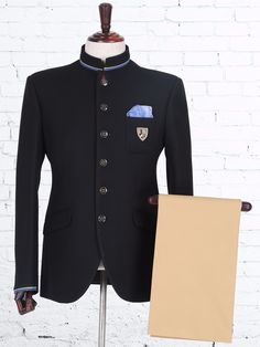Shop Black knitted wedding jodhpuri suit online from India. Wedding Dresses Men Indian, Wedding Dress Men, Wedding Suits, Indian Men Fashion, Mens Fashion Suits, Mens Suits, Designer Suits For Men, Designer Clothes For Men, Mens Party Wear